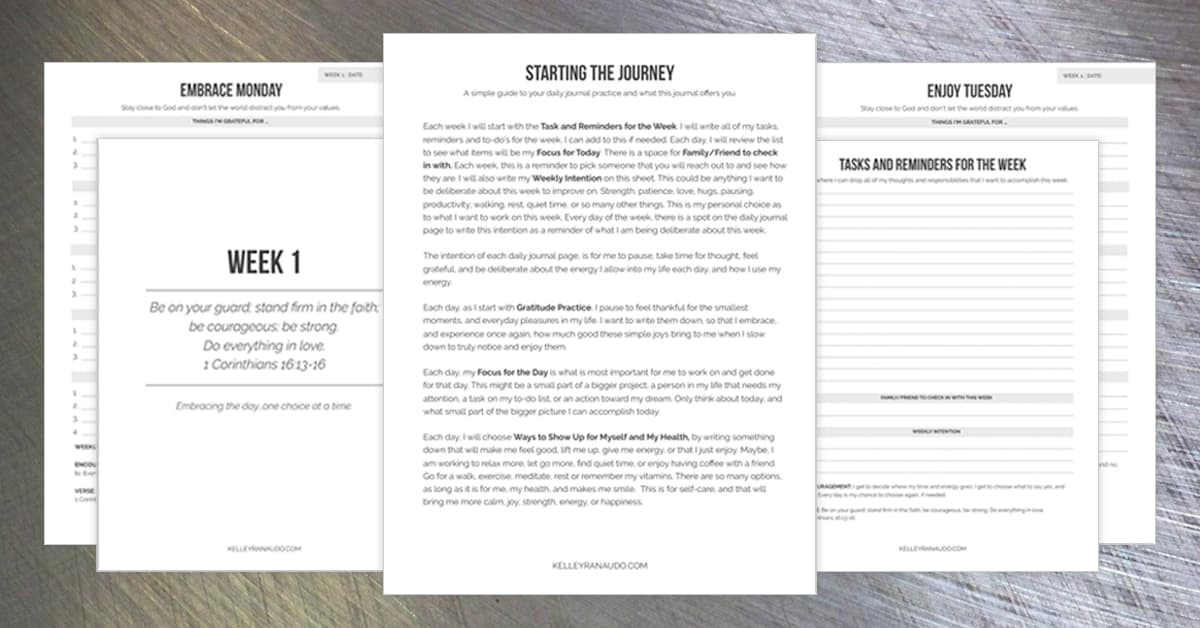 Daily Intentions Journal Pages and Worksheets for Your Daily Routine